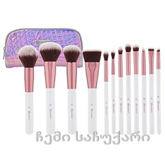 BH cosmetics Crystal Quartz 12 Piece Brush Set and Bag/ფუნჯების ნაკრები 12ც